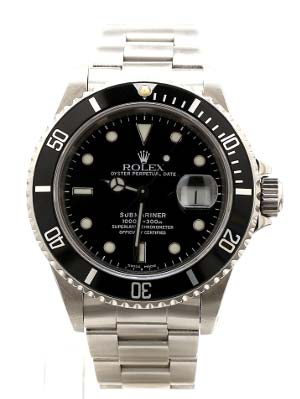 Shop our Pre-Owned Rolex Watches like this Steel Black on Black Submariner